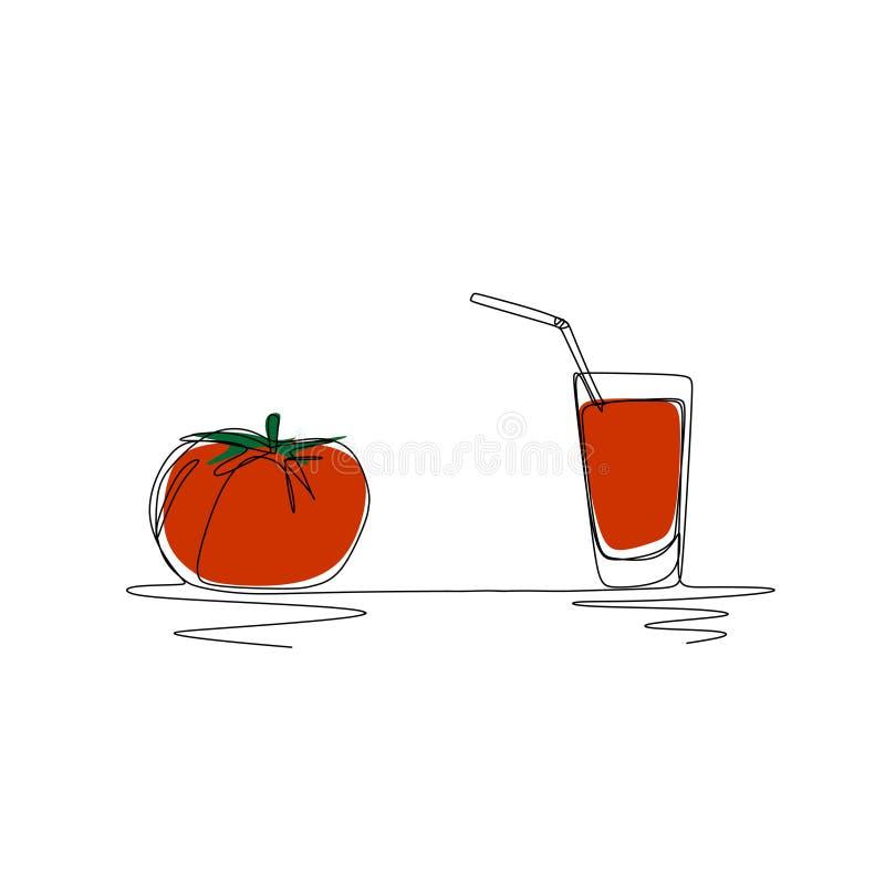 De kunsttekening van de tomatesap ononderbroken lijn Gezond levensstijlconcept vector illustratie