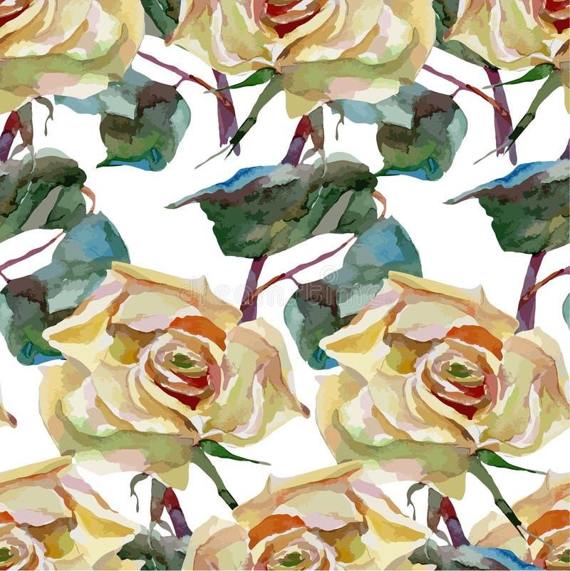 De kunstwerkwaterverf bloeit rozen royalty-vrije illustratie