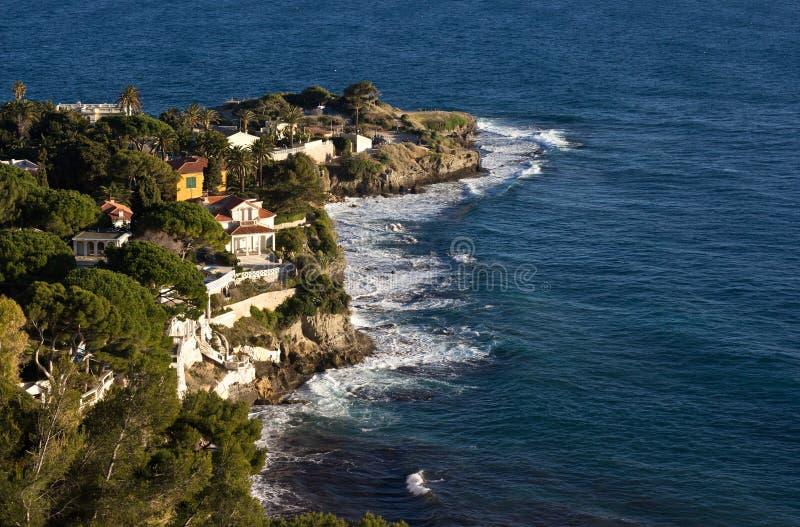 De kust langs de Kooi d'Azur in Frankrijk stock foto