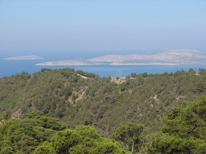 De kust Rhodos van het panoramazuiden stock afbeelding