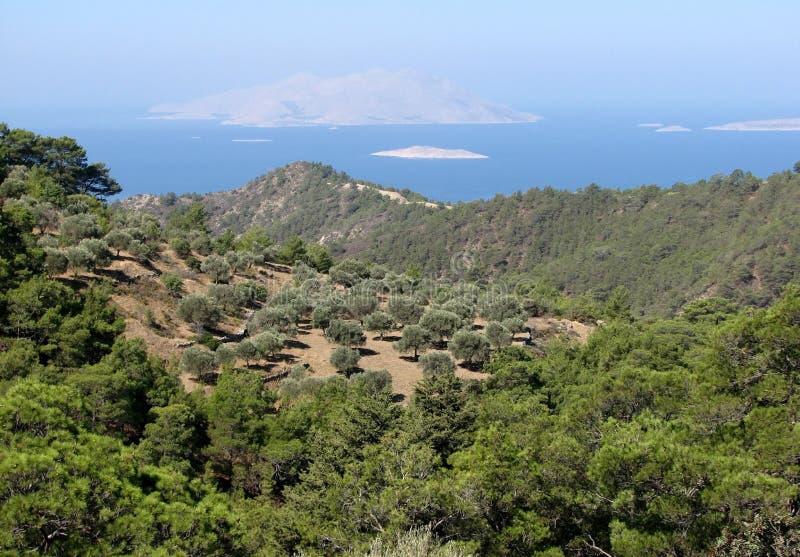 De kust Rhodos van het panoramazuiden royalty-vrije stock foto