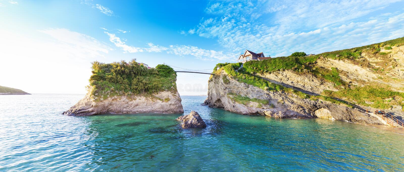 De kust van de Newquayatlantische oceaan, Cornwall, Engeland royalty-vrije stock foto's