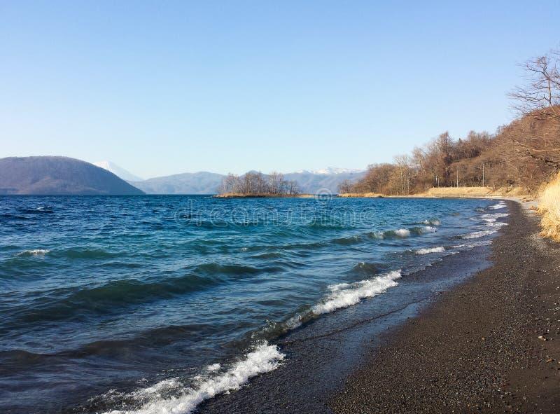 De kust van het Toyameer in Hokkaido Japan royalty-vrije stock afbeeldingen
