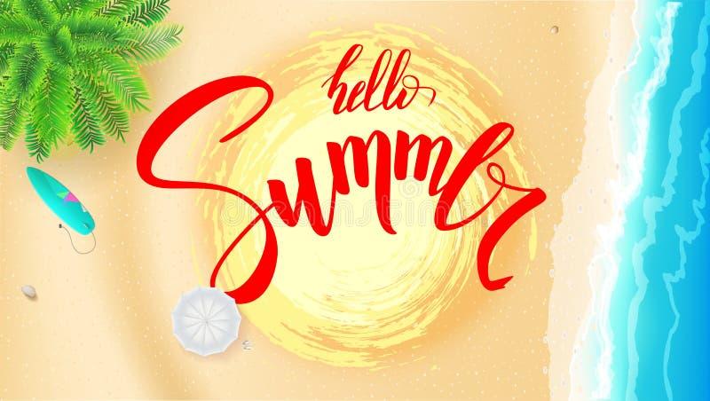 De kust van het de zomerstrand voor toeristische gebeurtenissen, reisbureauacties De zomerbanner met met de hand geschreven tekst stock illustratie