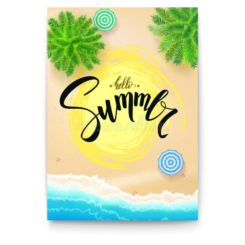 De kust van het de zomerstrand De zomeraffiche met met de hand geschreven teksten, borstelpen het van letters voorzien Malplaatje royalty-vrije illustratie