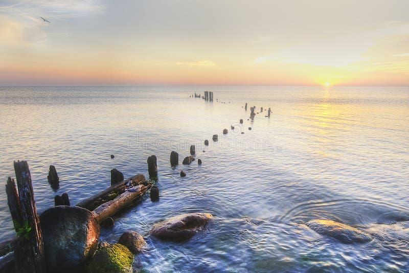 De Kust van Michigan van het meer bij Zonsopgang royalty-vrije stock afbeelding