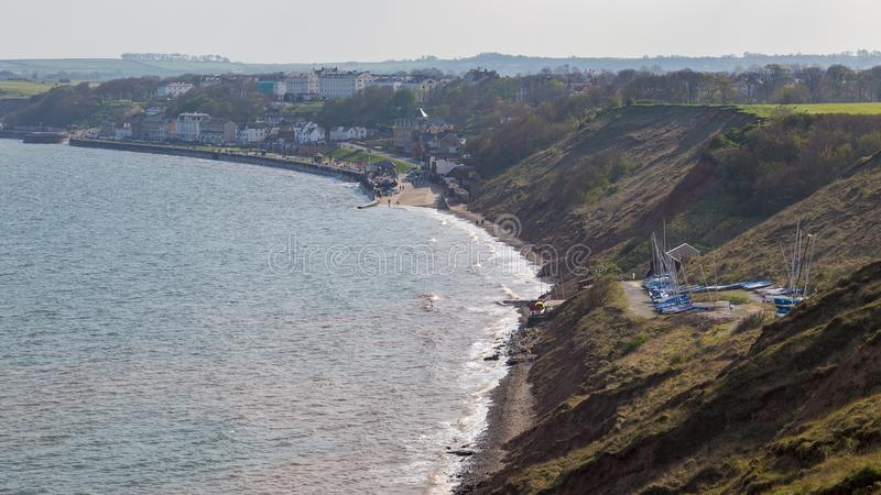 De kust van Yorkshire in Filey, het UK stock afbeeldingen