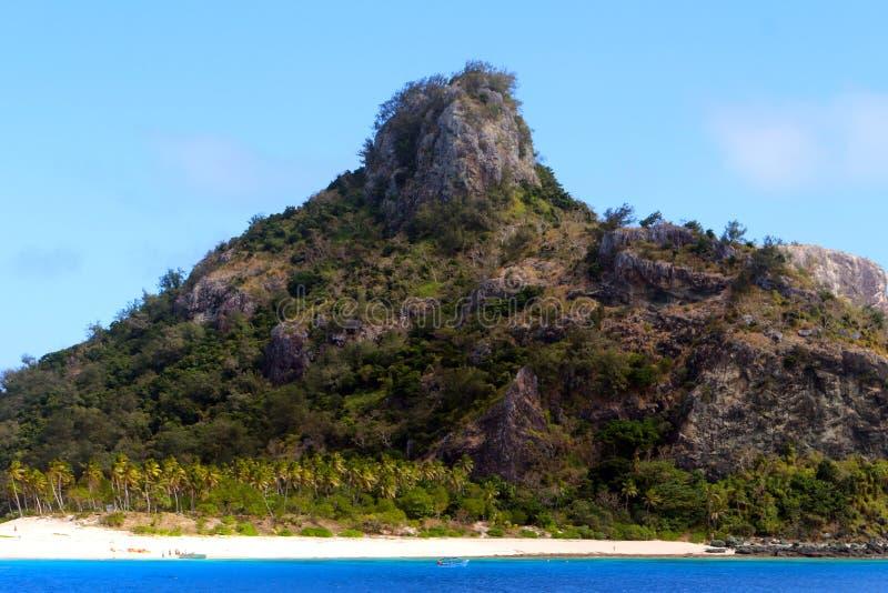 De kusten van een tropisch eiland, Fiji stock afbeelding