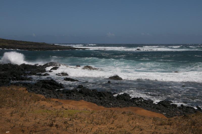 De kustlijn bij Ka Lae, kent ook als Zuidenpunt, Hawaï stock foto