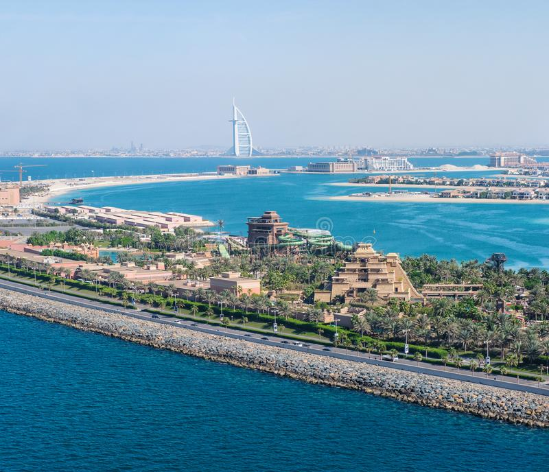 De kustlijnlandschap Verenigde Arabische Emiraten van Doubai stock fotografie