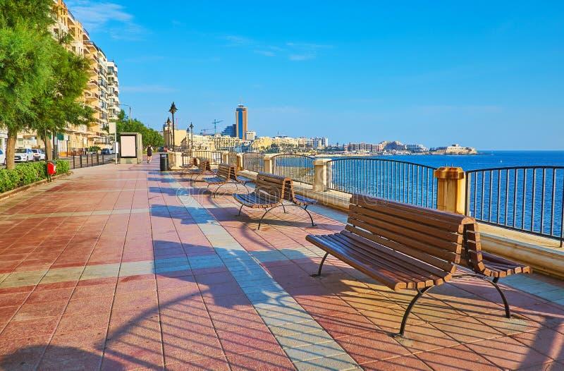 De kustpromenade van Sliema, Malta stock fotografie