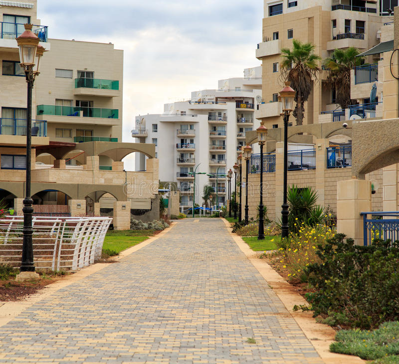 De kustwoonwijk in Ashkelon, Israël royalty-vrije stock afbeelding