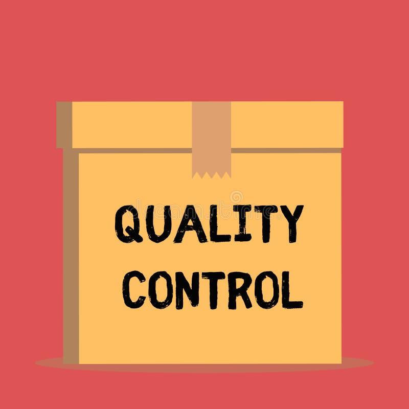 De Kwaliteitscontrole van de handschrifttekst De conceptenbetekenis verzekert dat het product of de dienst wegens normen sluit ee stock illustratie