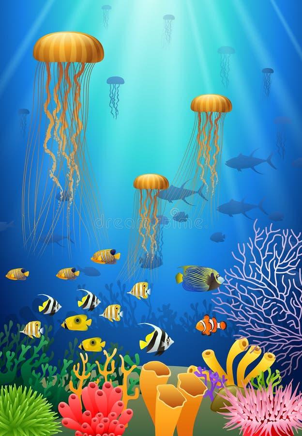 De kwallen zwemmen in onderwater royalty-vrije illustratie