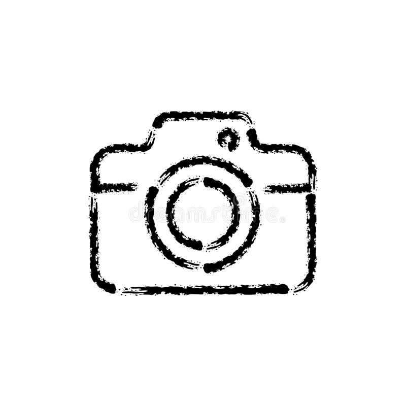 De kwaststreek overhandigt getrokken vectorpictogram van fotocamera vector illustratie