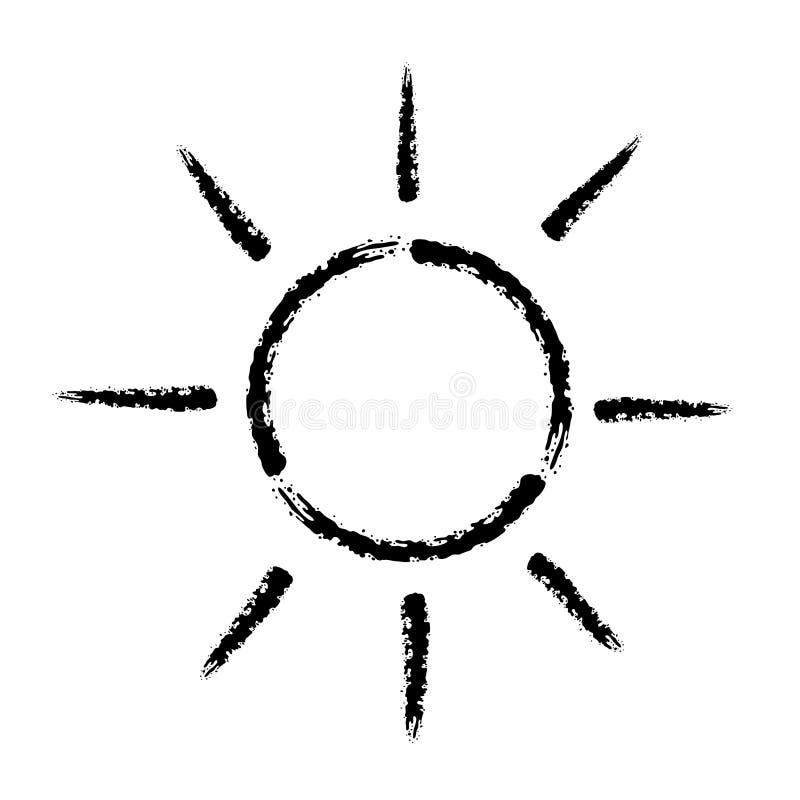 De kwaststreek overhandigt getrokken vectorpictogram van zon stock illustratie