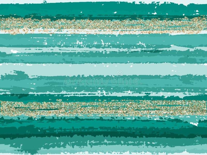 De de kwaststreekstrepen van de Hipster grunge textuur met goud schitteren achtergrond van het fonkelingen de vector naadloze pat royalty-vrije illustratie
