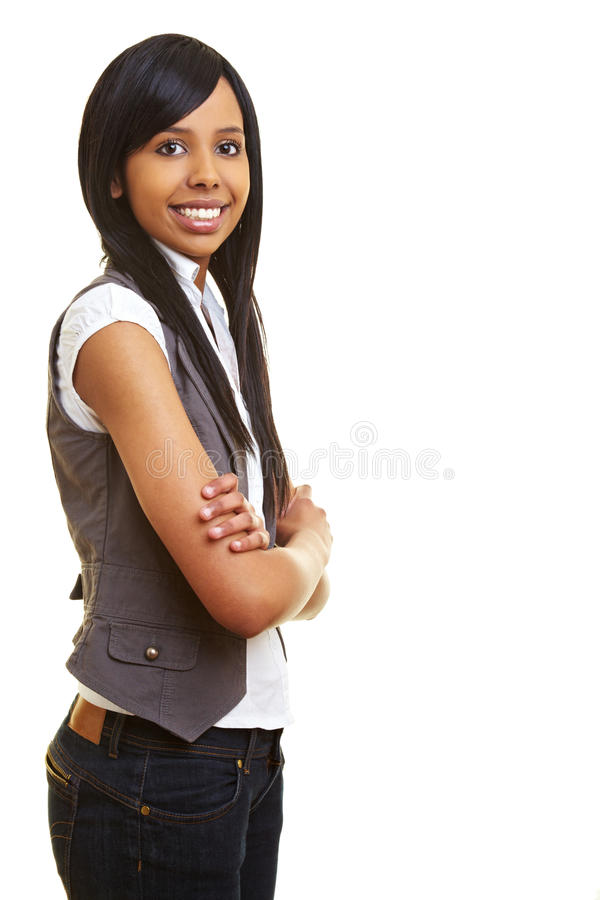 De l'adolescence africain de sourire avec des bras image libre de droits