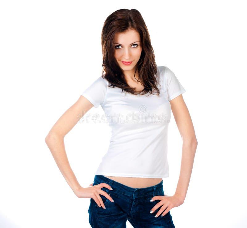 De l'adolescence caucasien blanc utilisant un T-shirt propre photo stock