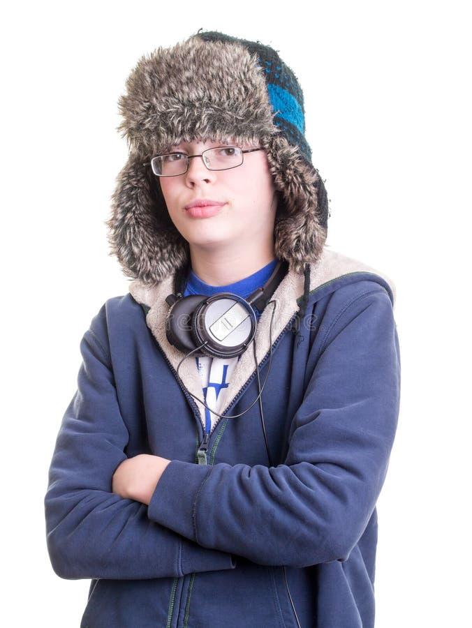 De l'adolescence frais avec le chapeau de trappeur image libre de droits
