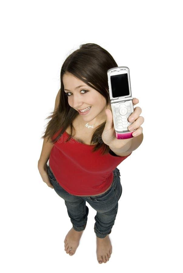 De l'adolescence heureux avec le téléphone image stock