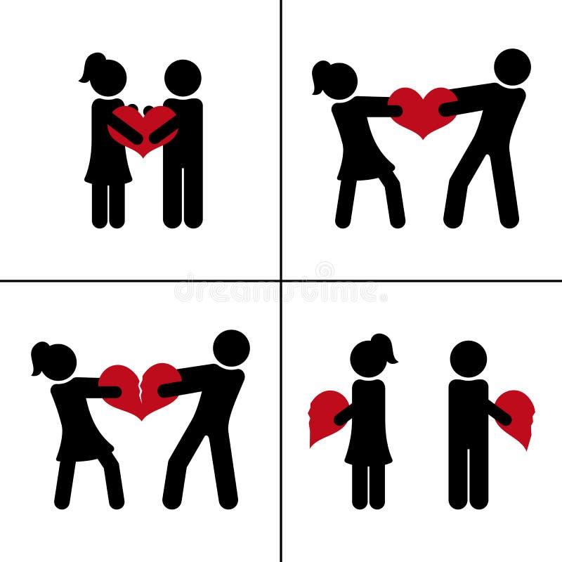 De l'amour au divorce Ajouter au coeur cassé Concept de relations Silhouettes de vecteur illustration libre de droits