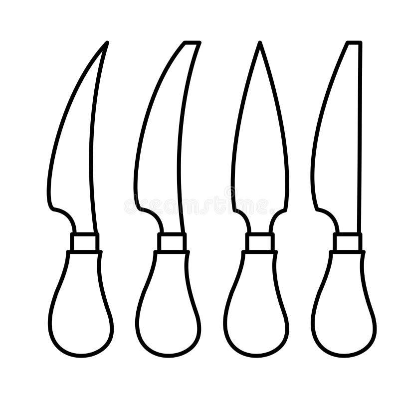 de l'ensemble de couteau sur le fond blanc images libres de droits