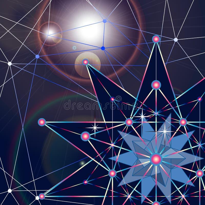 De l'espace poly fond foncé polygonal abstrait bas avec les points et les lignes se reliants Structure de connexion Squelette de  illustration stock