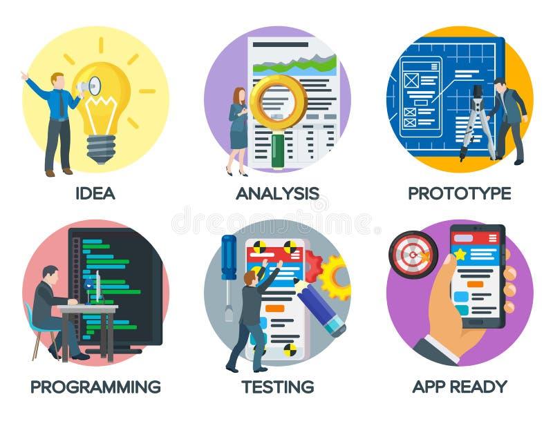 De l'idée au produit fini Illustration moderne du processus de démarrage de projet d'affaires Un ensemble d'icônes pour la présen illustration libre de droits