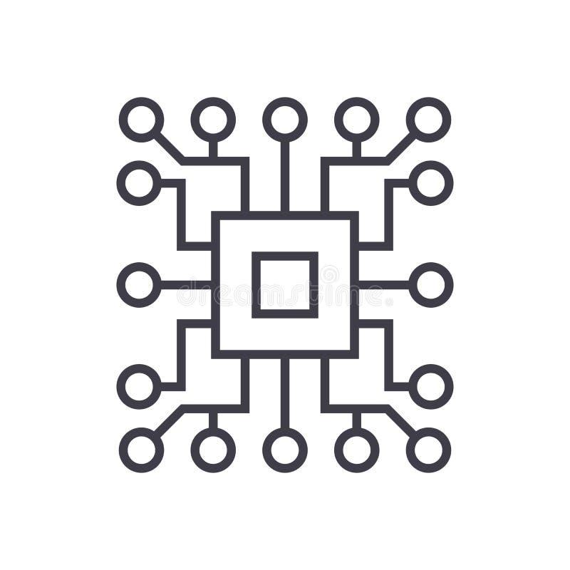 De l'informatique, ligne icône, signe, illustration de vecteur de circuit sur le fond, courses editable illustration libre de droits