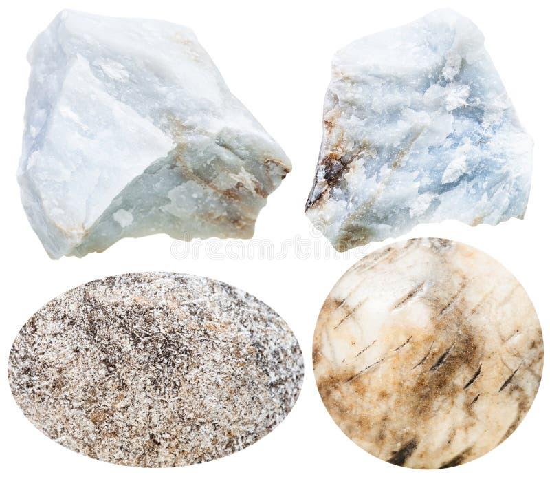 De la anhidrita piedras preciosas y rocas cabochon aisladas fotografía de archivo libre de regalías