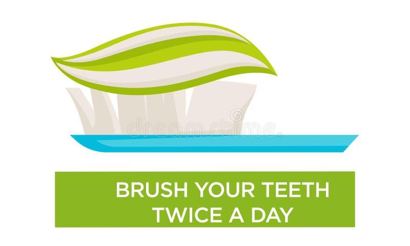 De la boca de la higiene del cepillo de dientes y de la crema dental del cepillo de los dientes día dos veces ilustración del vector
