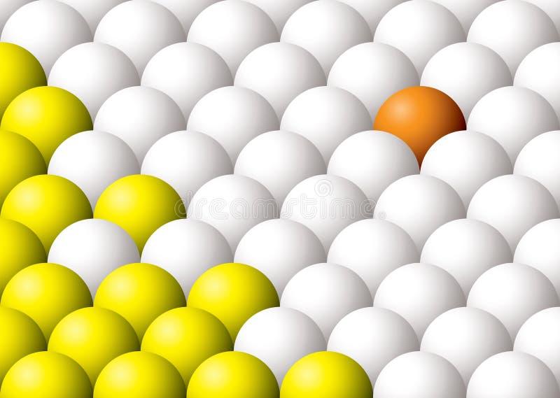 De la bola naranja impar hacia fuera ilustración del vector