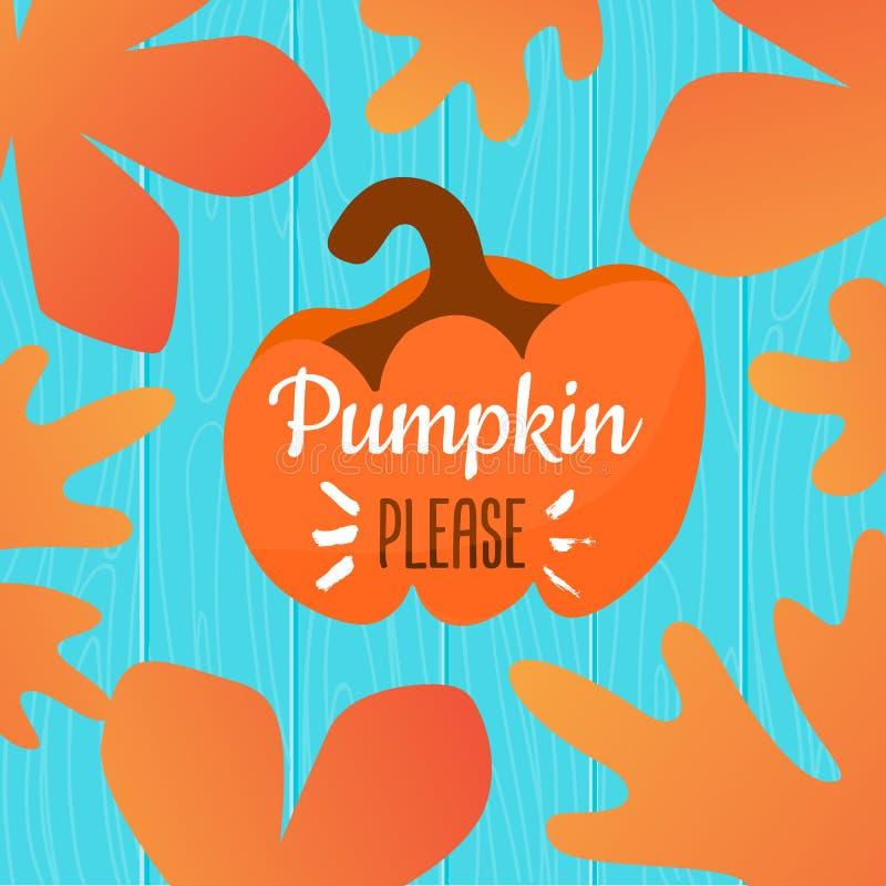 De la calabaza ejemplo del otoño por favor con el marco de las hojas en fondo de madera stock de ilustración
