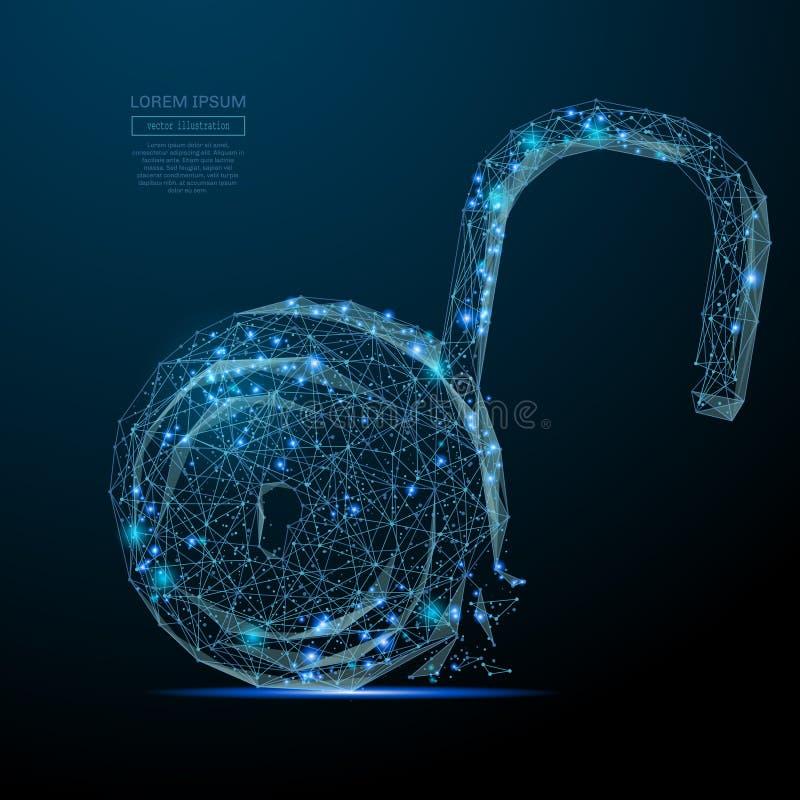 De la cerradura azul polivinílico abierto bajo stock de ilustración