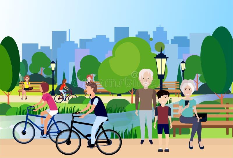 De la ciudad del parque mujer del hombre del río de la lámpara de calle del banco de madera de los abuelos al aire libre que comp ilustración del vector