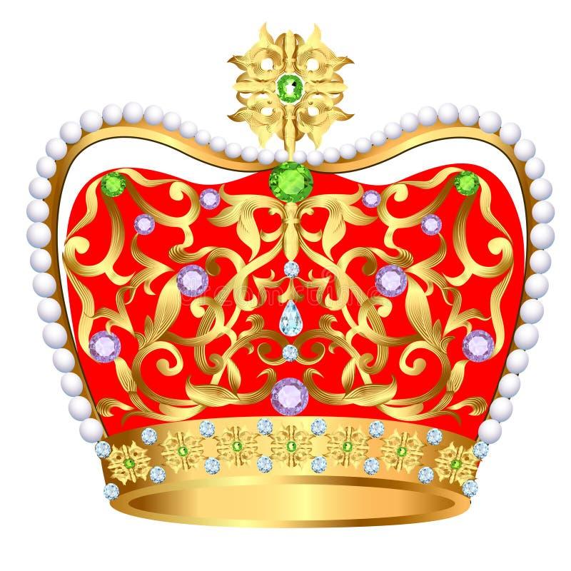 De la corona real del oro con las joyas y el ornamento ilustración del vector