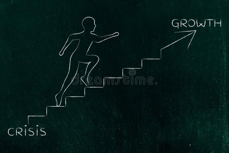 Download De La Crise à La Croissance, Métaphore S'élevante D'escaliers D'homme Photo stock - Image du sens, résolution: 77154122