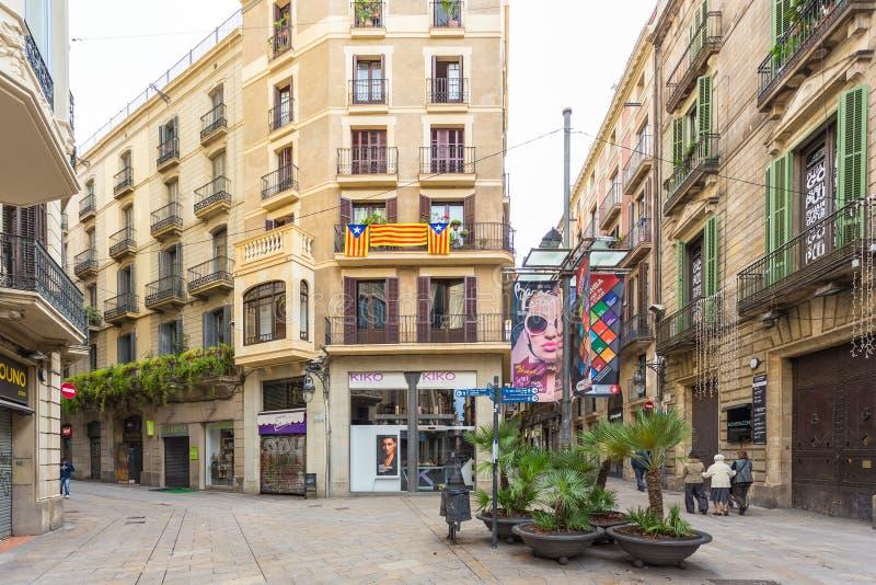 De la Cucurulla Square,小正方形在镇的中心,巴塞罗那,西班牙 免版税库存图片