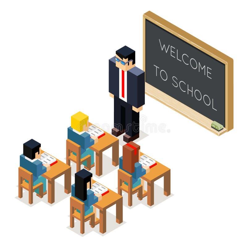 De la educación de la lección ejemplo plano del vector del diseño de la sala de clase 3d lowpoly del consejo escolar de los niños stock de ilustración