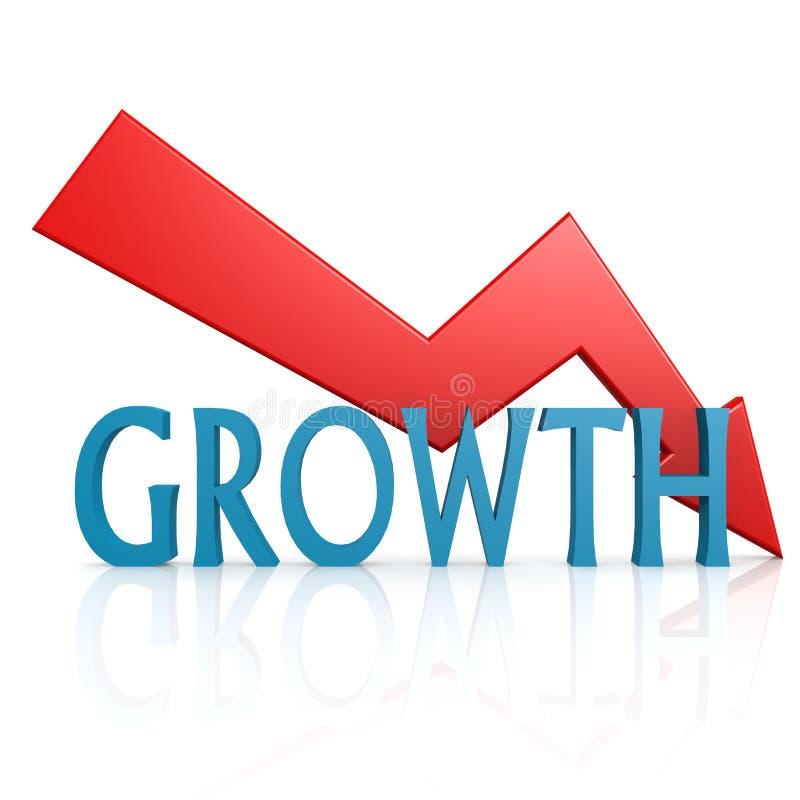 De la flecha crecimiento abajo stock de ilustración