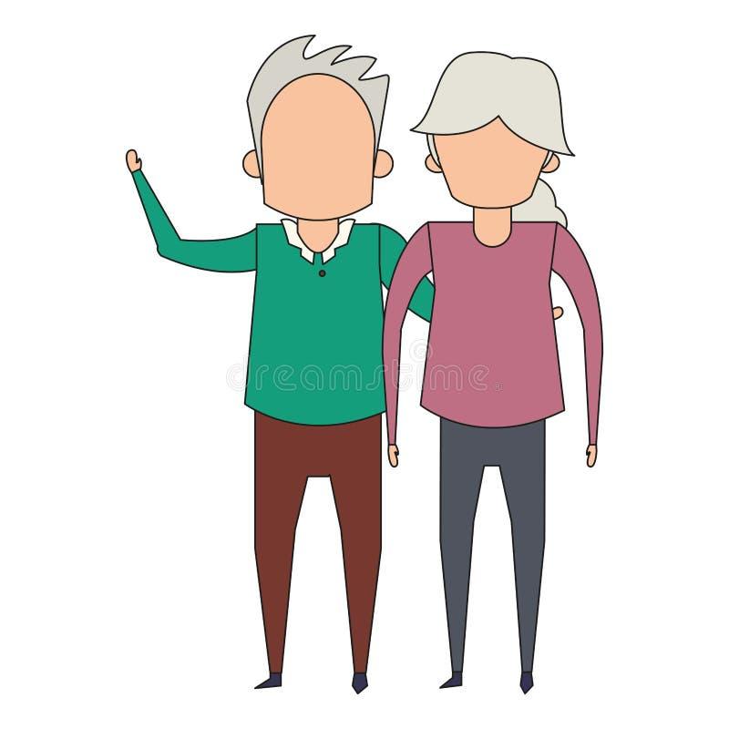 De la historieta de los abuelos personas mayores mayores anónima ilustración del vector
