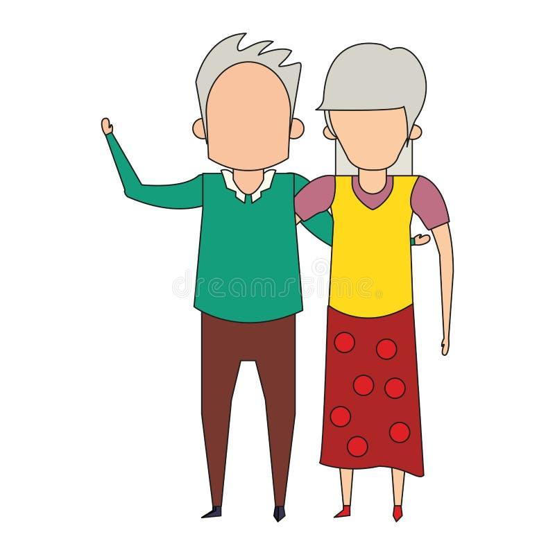 De la historieta de los abuelos personas mayores mayores anónima stock de ilustración