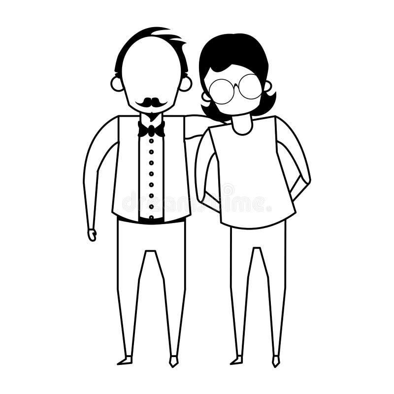 De la historieta de los abuelos personas mayores mayores anónima en blanco y negro libre illustration