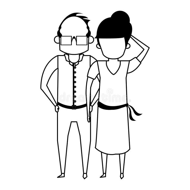 De la historieta de los abuelos personas mayores mayores anónima en blanco y negro ilustración del vector