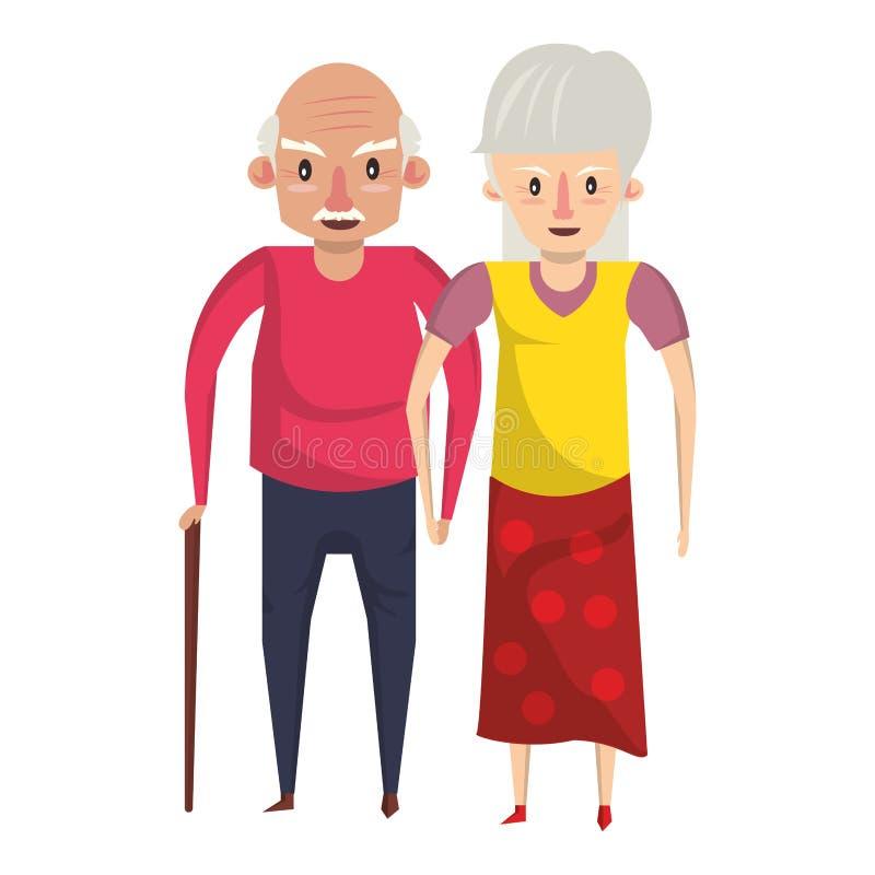 De la historieta de los abuelos personas mayores mayores stock de ilustración