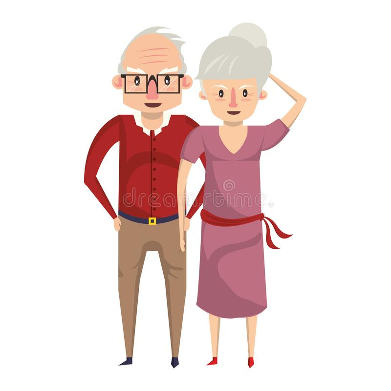 De la historieta de los abuelos personas mayores mayores ilustración del vector