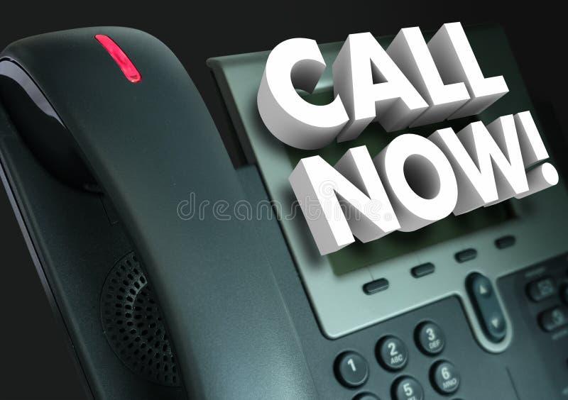 De la llamada publicidad de la pedido del servicio de atención al cliente del teléfono de la oficina ahora stock de ilustración