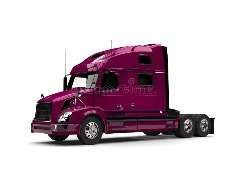 De la magenta camión de remolque metálico semi - vista lateral stock de ilustración