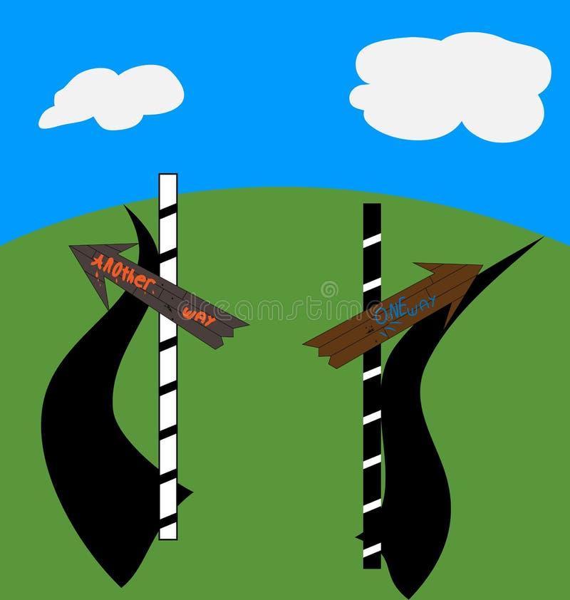 ` De la manera del ` uno, ` otros indicadores del ` de la manera en la bifurcación en la colina verde fotografía de archivo libre de regalías
